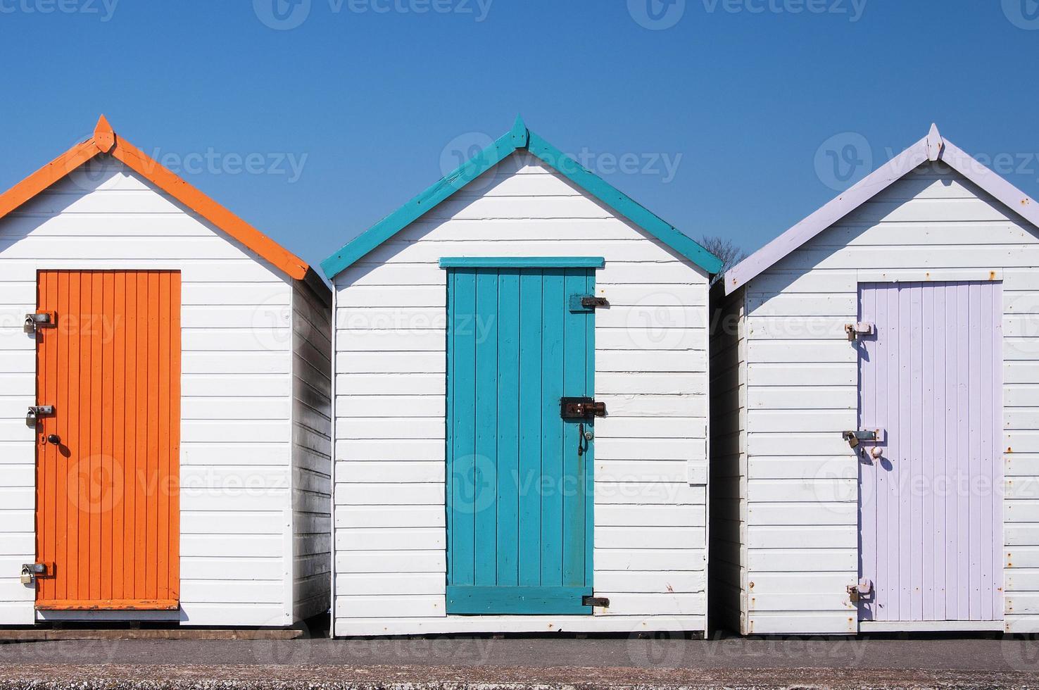 Colorful Beach Huts at Paignton, Devon, UK. photo
