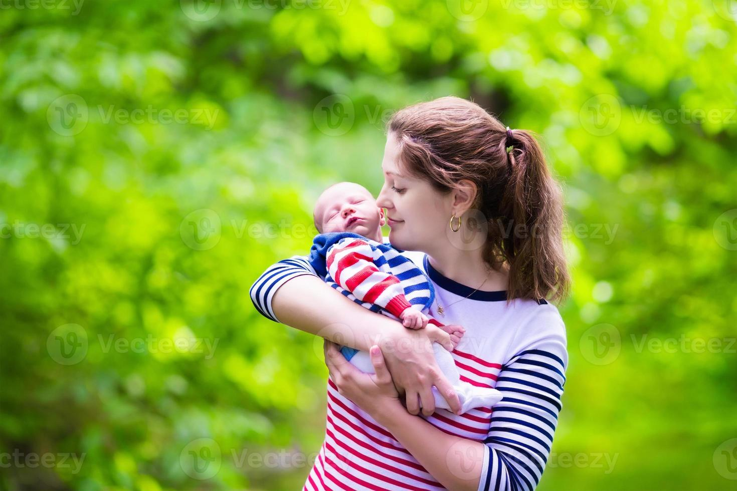 Mother and baby in a park photo
