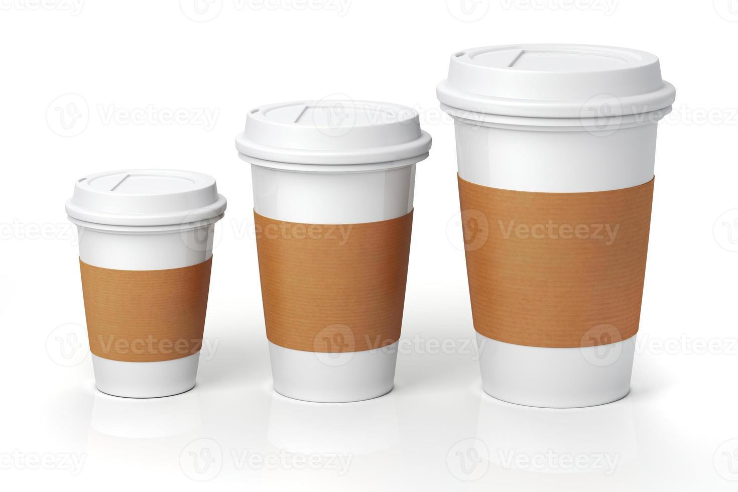 3d render- tazas de café sobre fondo blanco. foto