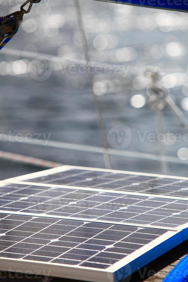 solar panels in sailboat. Renewable eco energy photo