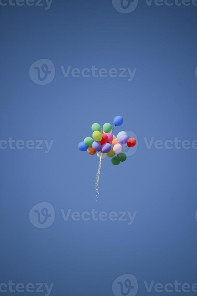 Bunch of colorful balloons photo