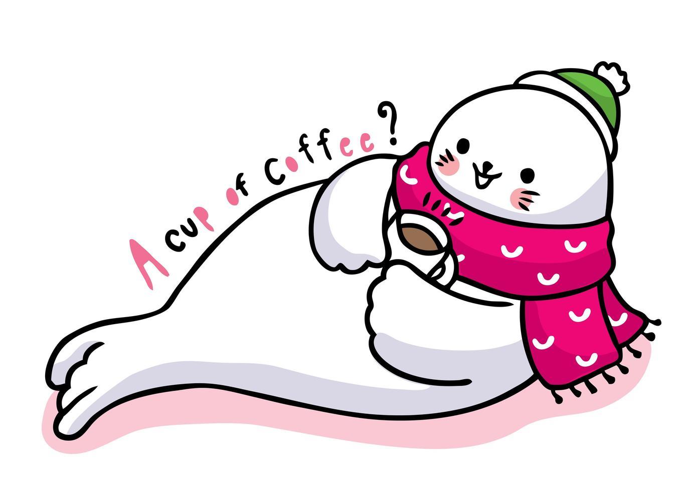 sello de dibujos animados lindo tomando café vector