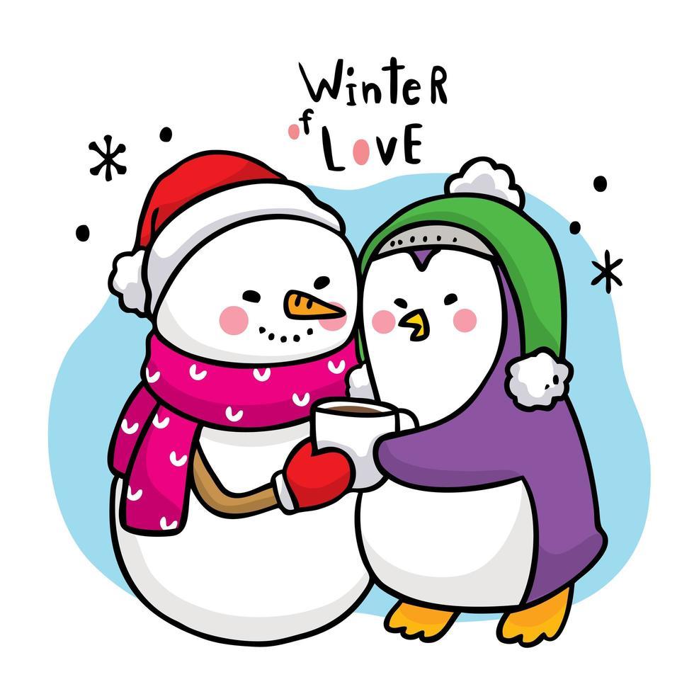 lindo muñeco de nieve de dibujos animados abrazando un pingüino vector