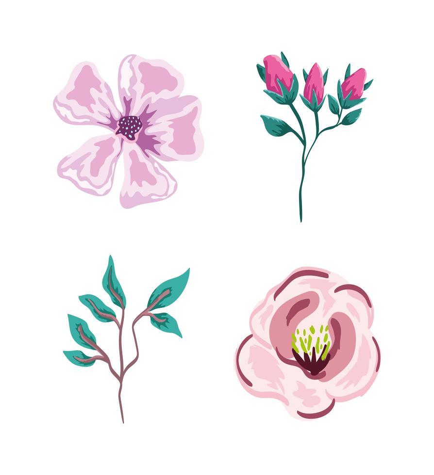 flores, ramas, follaje y vegetación. diseño de naturaleza verde vector