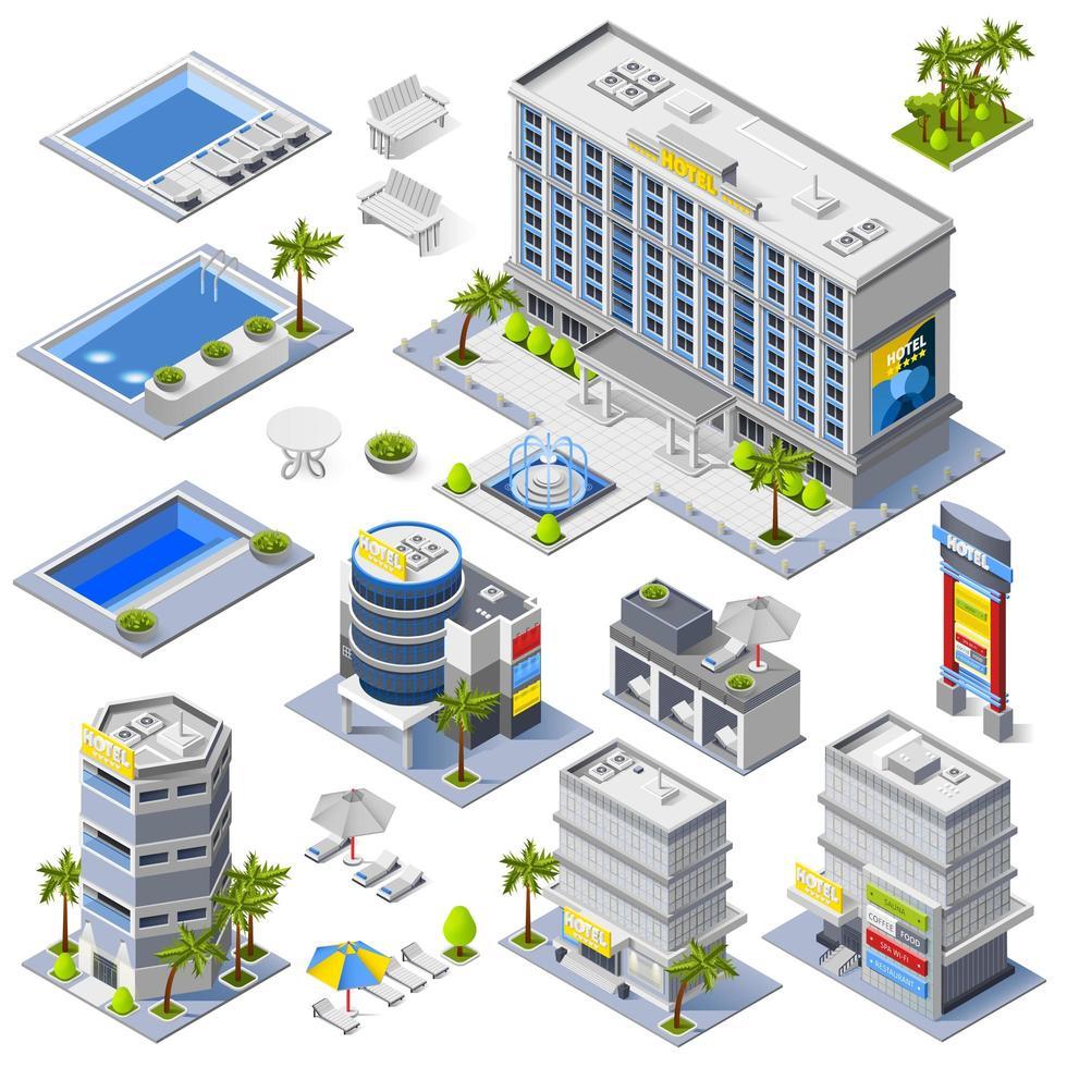 edificios de hoteles de lujo isométricos vector