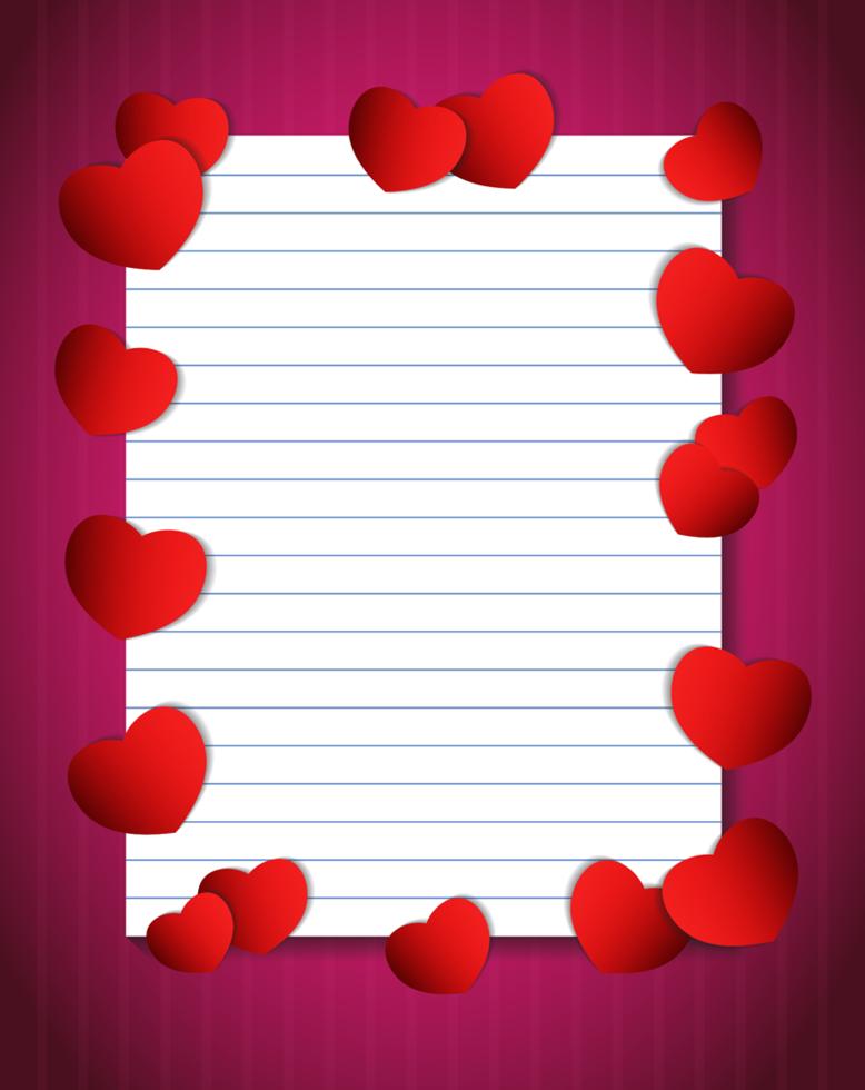 papel de cuaderno con corazones vector