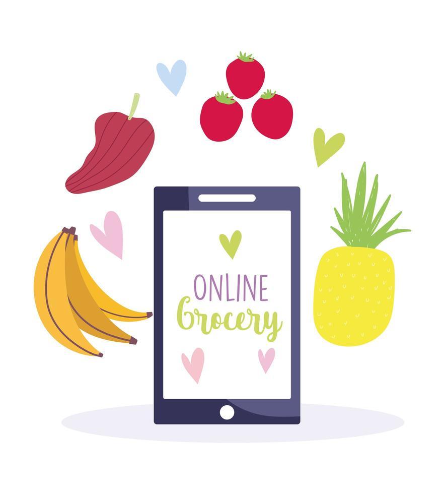 comprar productos alimenticios comestibles en la aplicación móvil vector