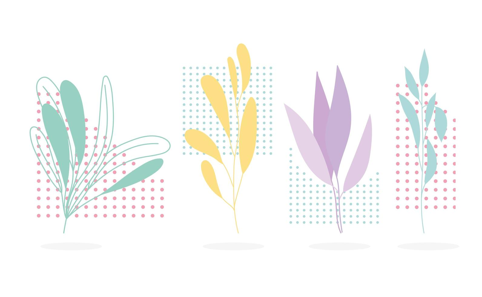 rama, hojas, figura botánica. fondo de decoración geométrica vector