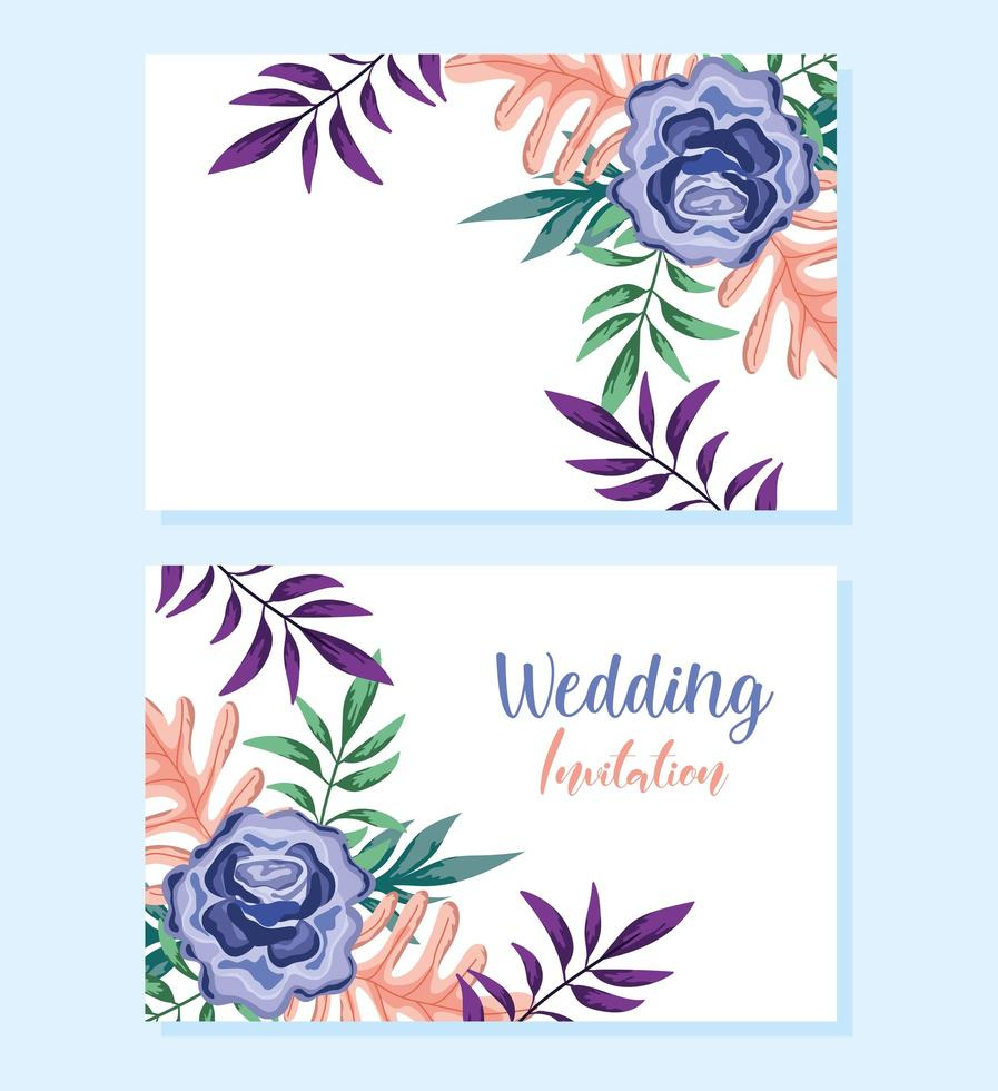 adorno de boda floral decorativo tarjeta de felicitación o invitación vector