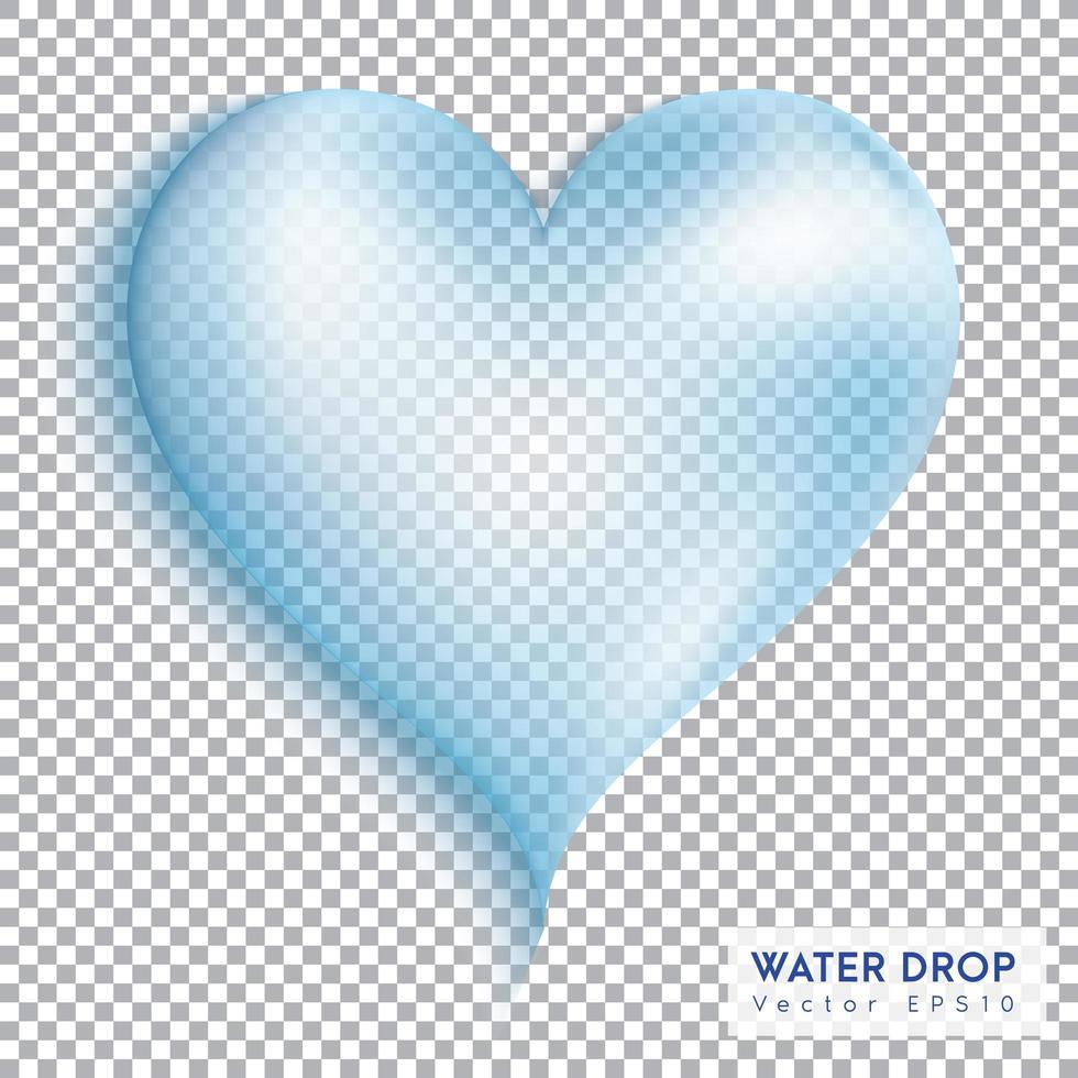 gota de corazón de agua transparente vector
