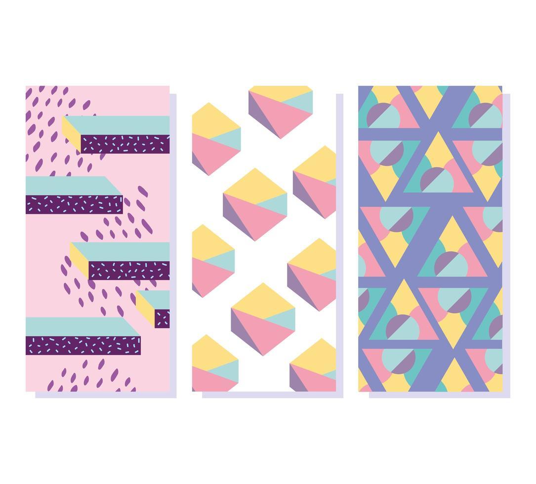 formas de patrón abstracto de Memphis. Banners minimalistas de los 80 vector