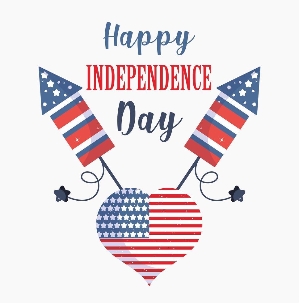 día de la independencia de estados unidos. bandera, corazón, con diseño vectorial de fuegos artificiales vector
