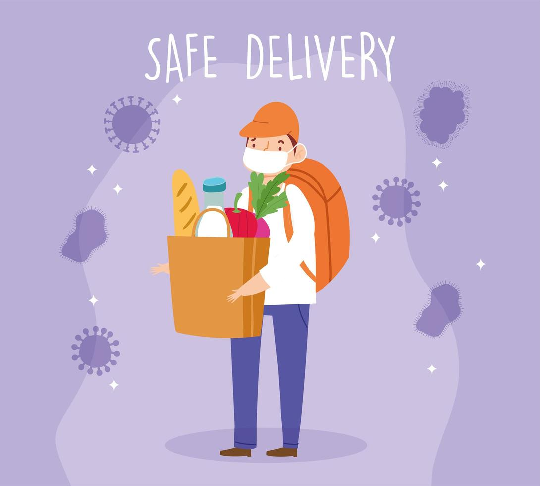 Courier with mask backpack and grocery paper bag vector