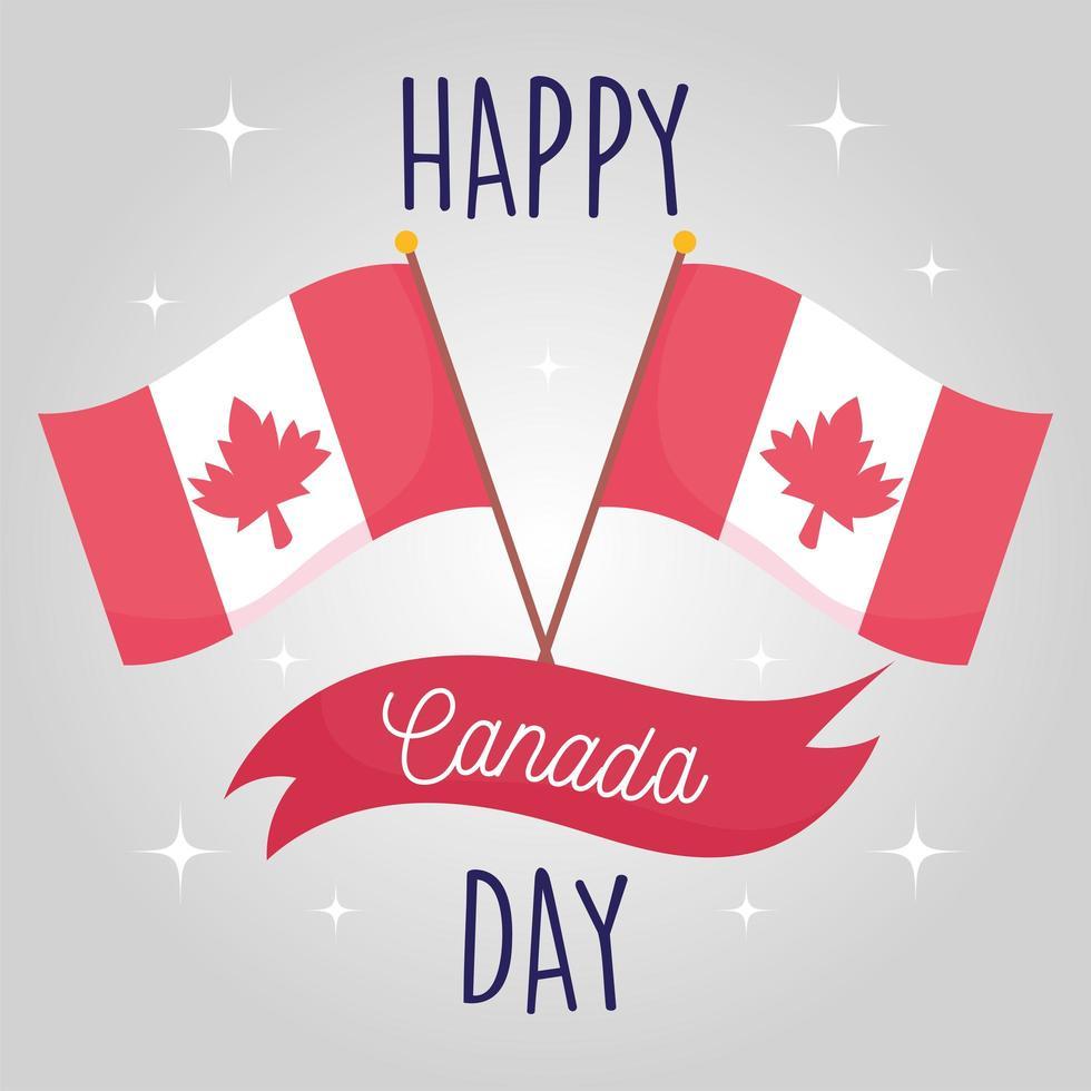 Banderas canadienses del feliz día de Canadá diseño vectorial vector