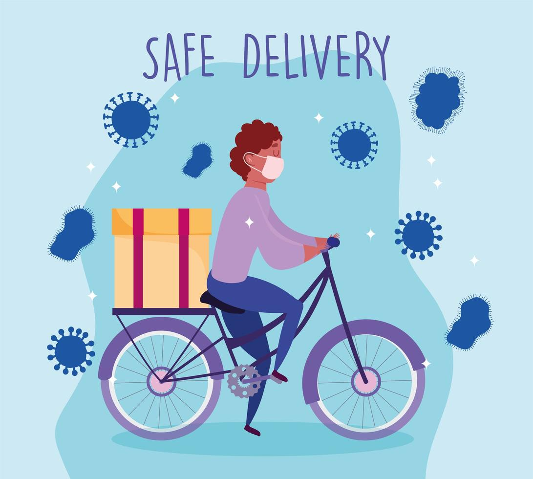 Courier man with medical mask riding bike vector