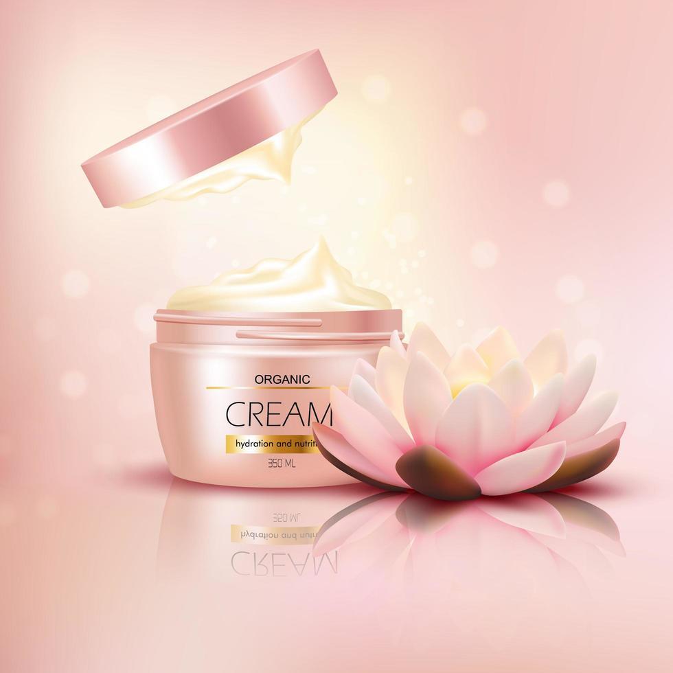 Lotus cream marketing background vector