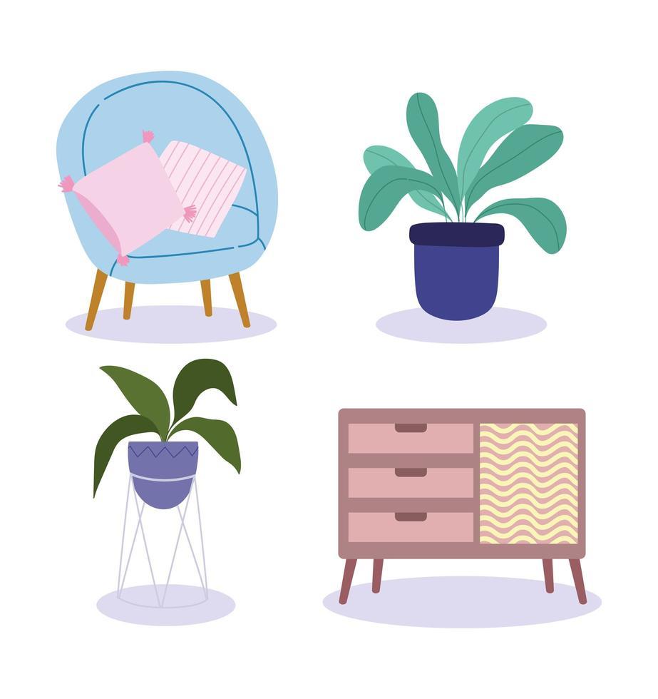 conjunto de escaparate de muebles interiores para el hogar vector
