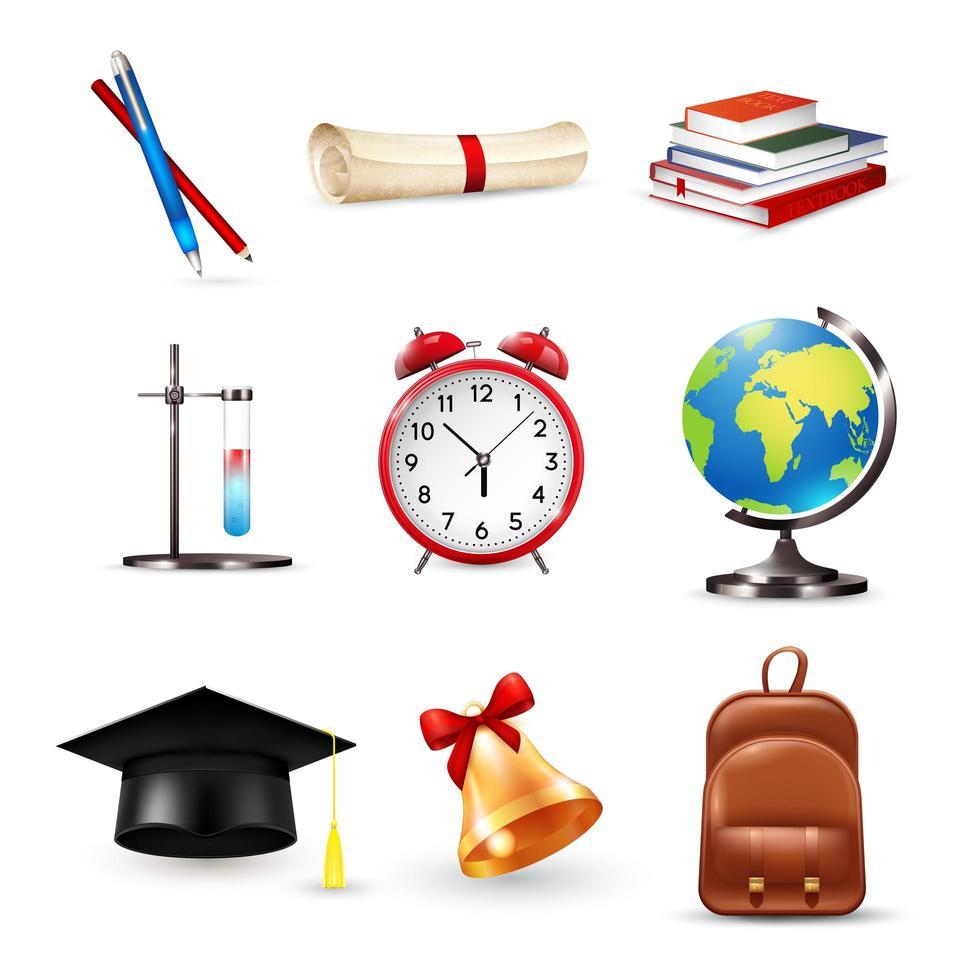 conjunto de elementos escolares vector