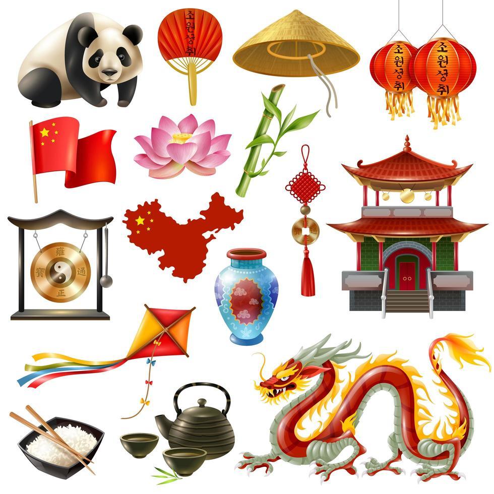 conjunto de viaje de china vector