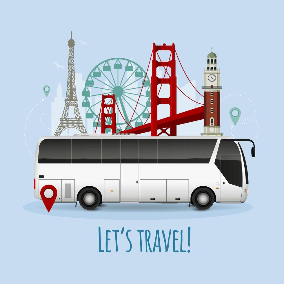 Touristic attractions and tour bus  vector