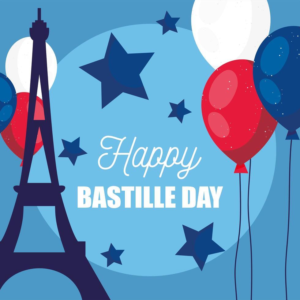 Torre Eiffel con globos de feliz día de la bastilla. vector
