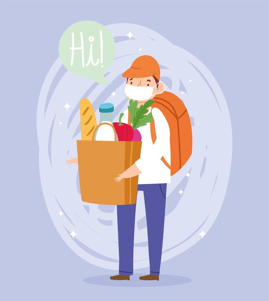 Mensajero joven con bolsa de mercado y mochila vector