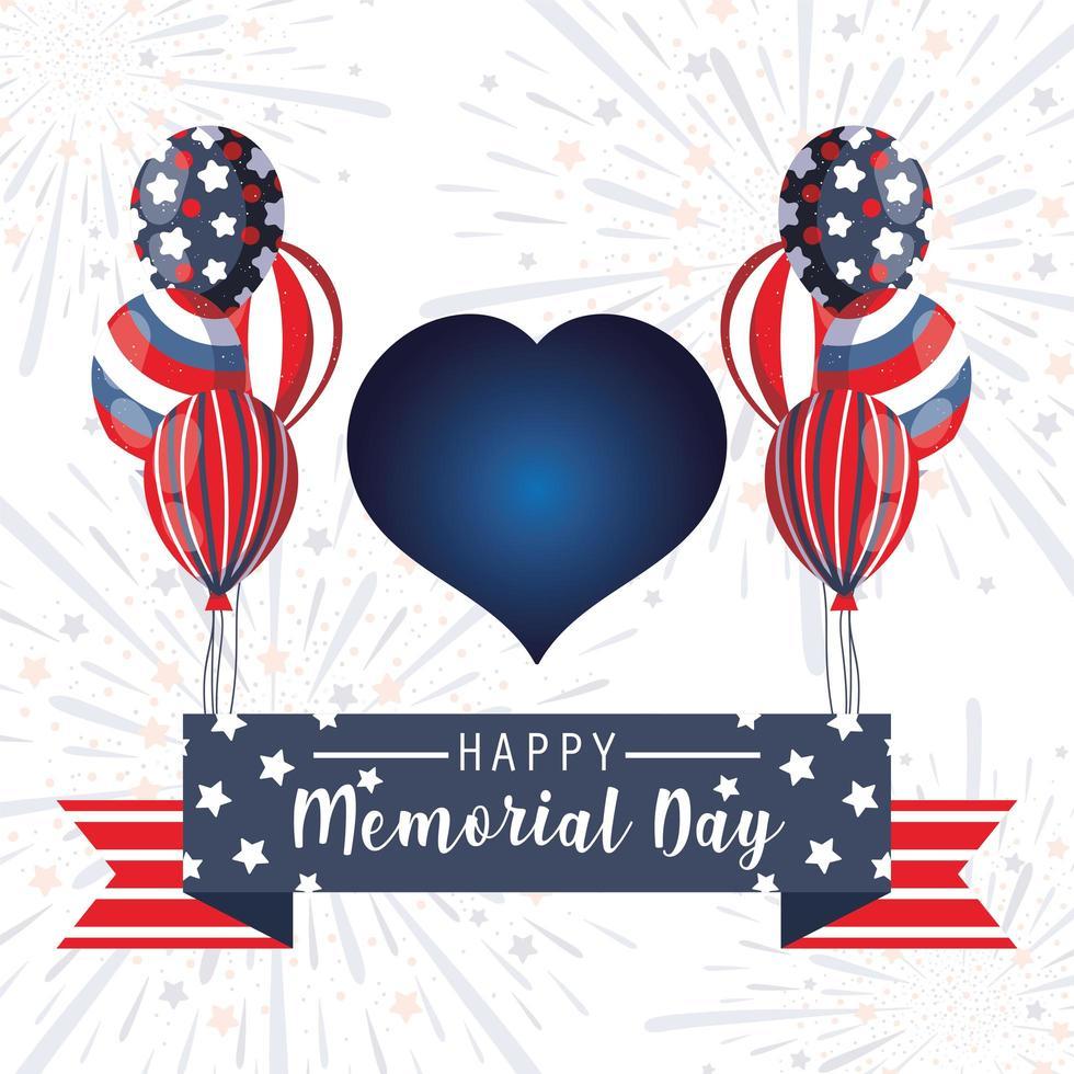 corazón con globos y cinta del día conmemorativo vector