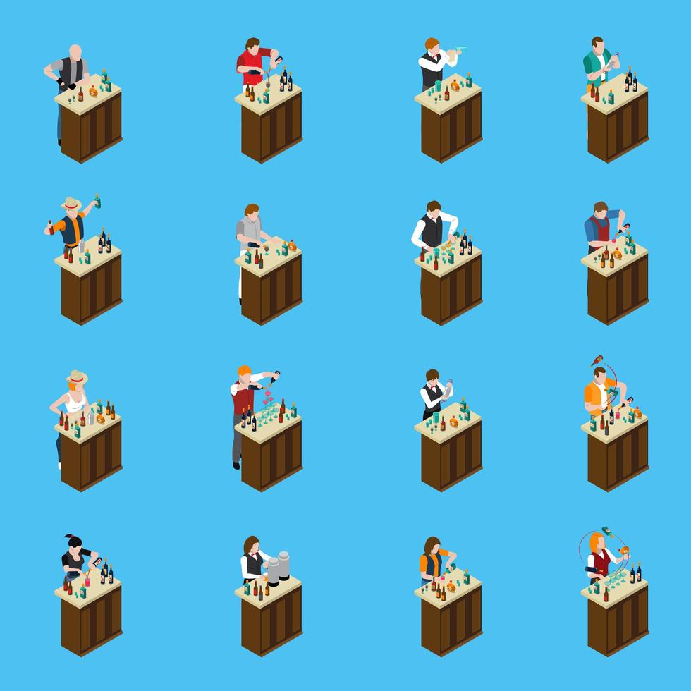 Barman Bartender Cocktail Isometric People vector