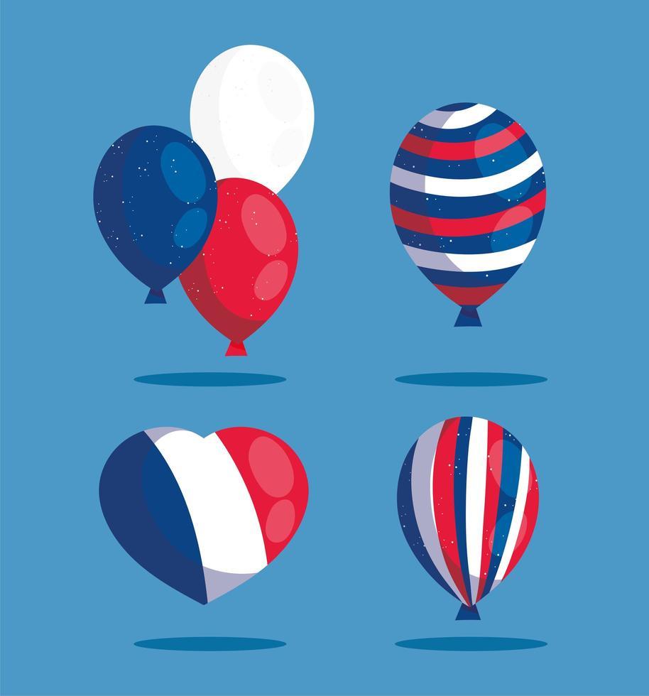 corazón y globos de feliz día de la bastilla vector