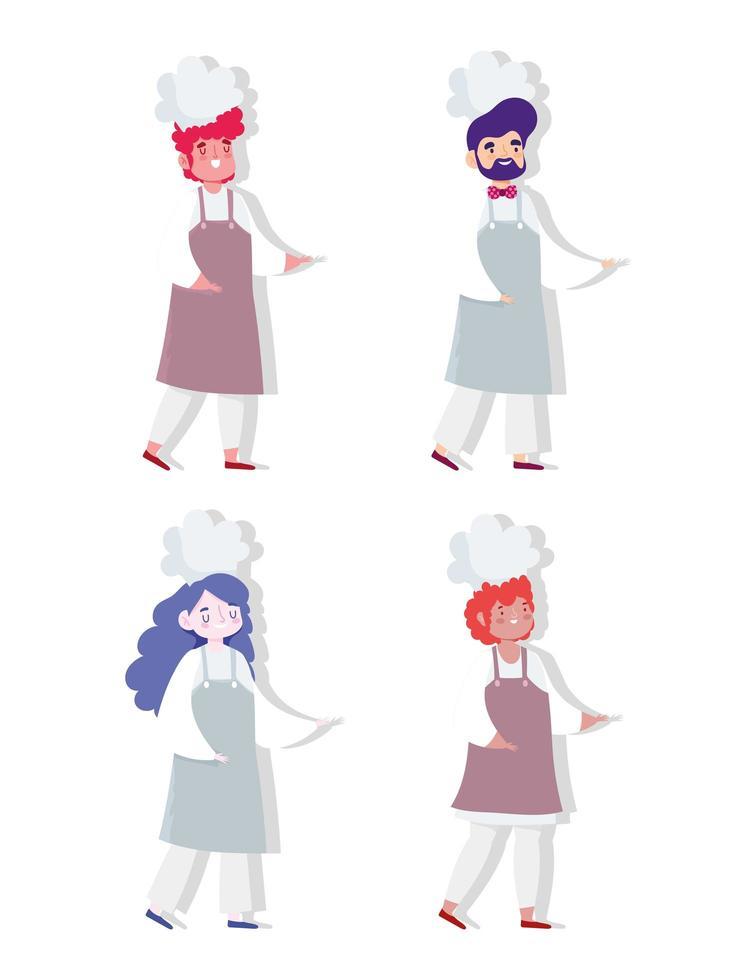 personajes de profesión de chef de hombres y mujeres vector