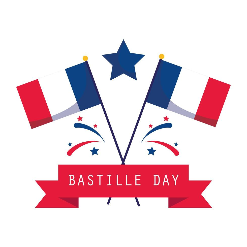 banderas, estrella y cinta del feliz día de la bastilla vector