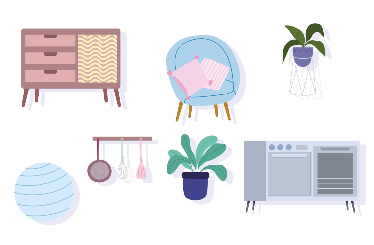 Iconos de estufa, muebles, sillas, bolas, plantas y cubiertos vector