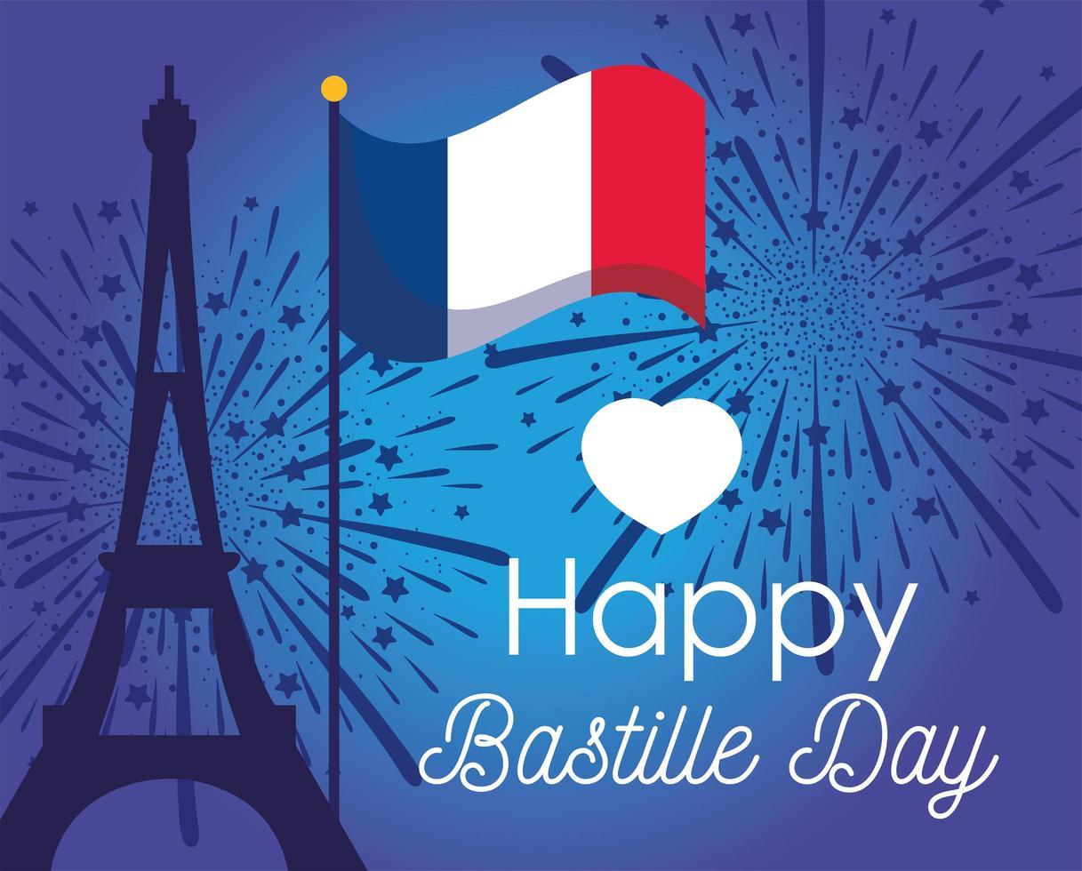 torre eiffel y bandera del feliz día de la bastilla vector
