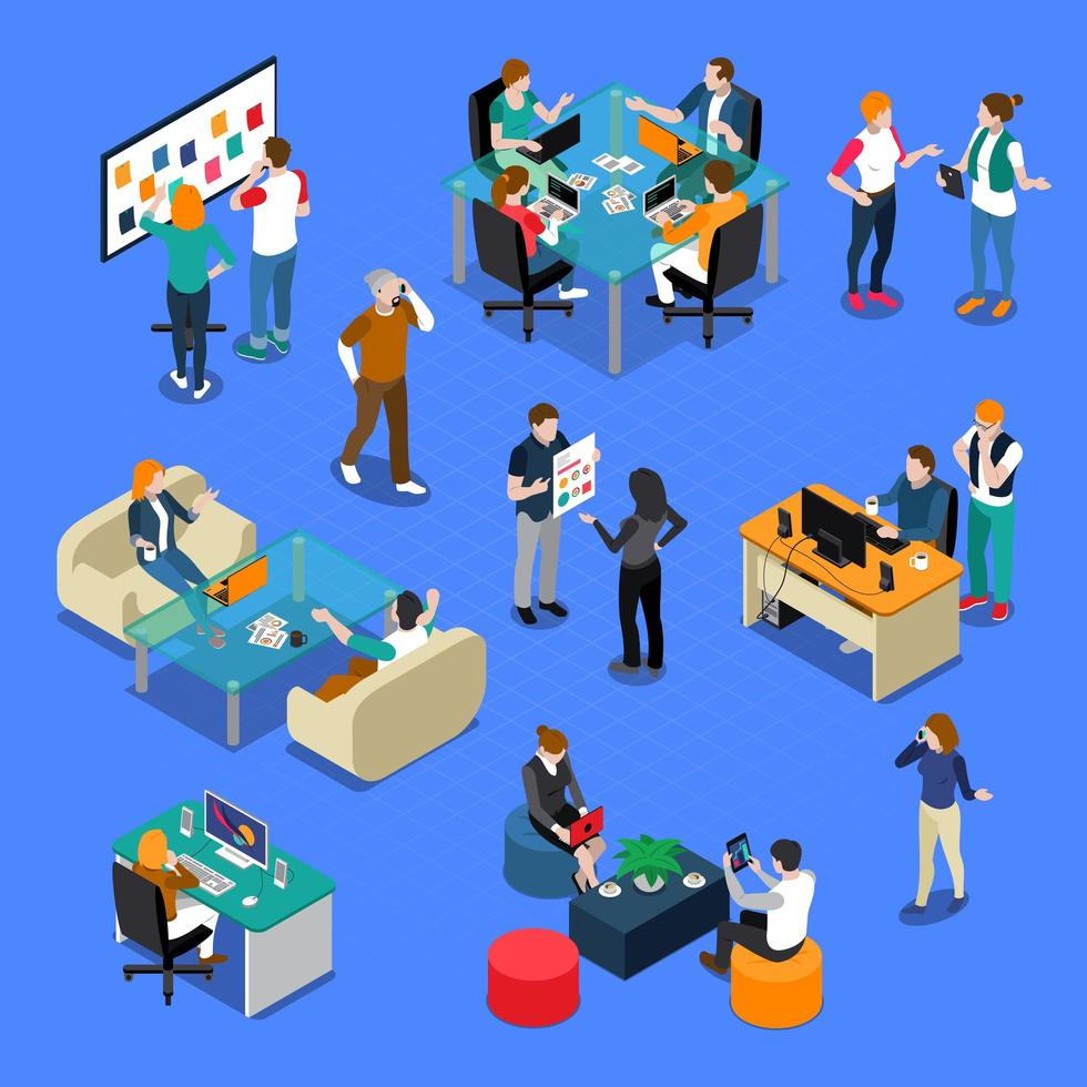 Coworking People Isometric vector