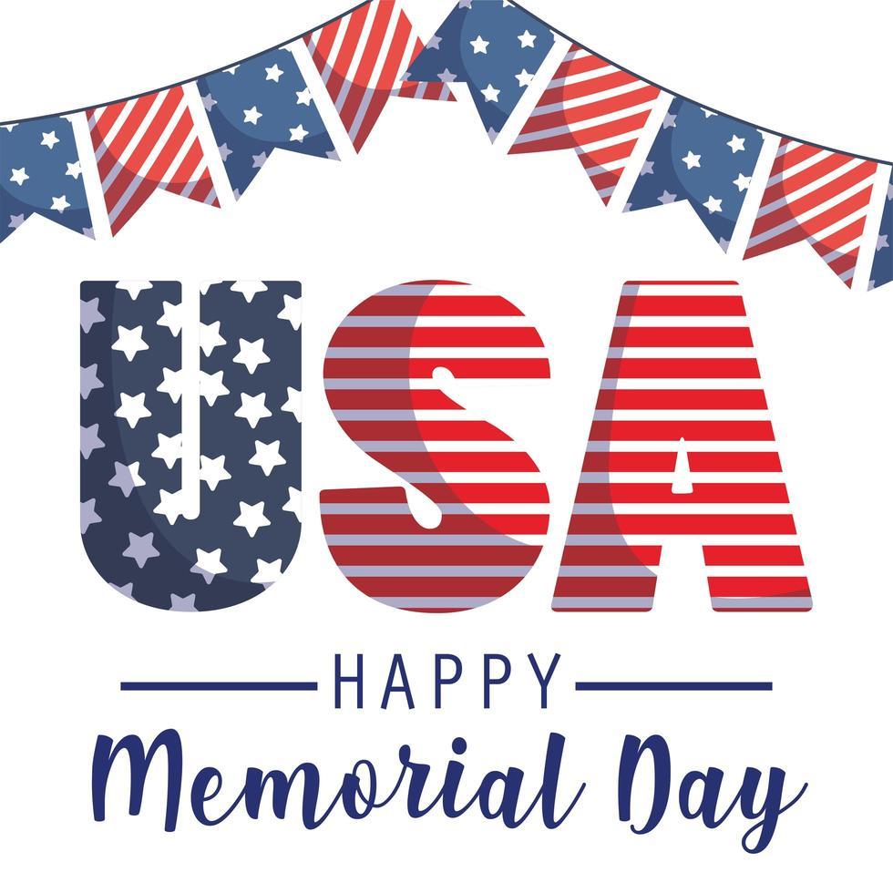 Estados Unidos y banderín del día conmemorativo. vector