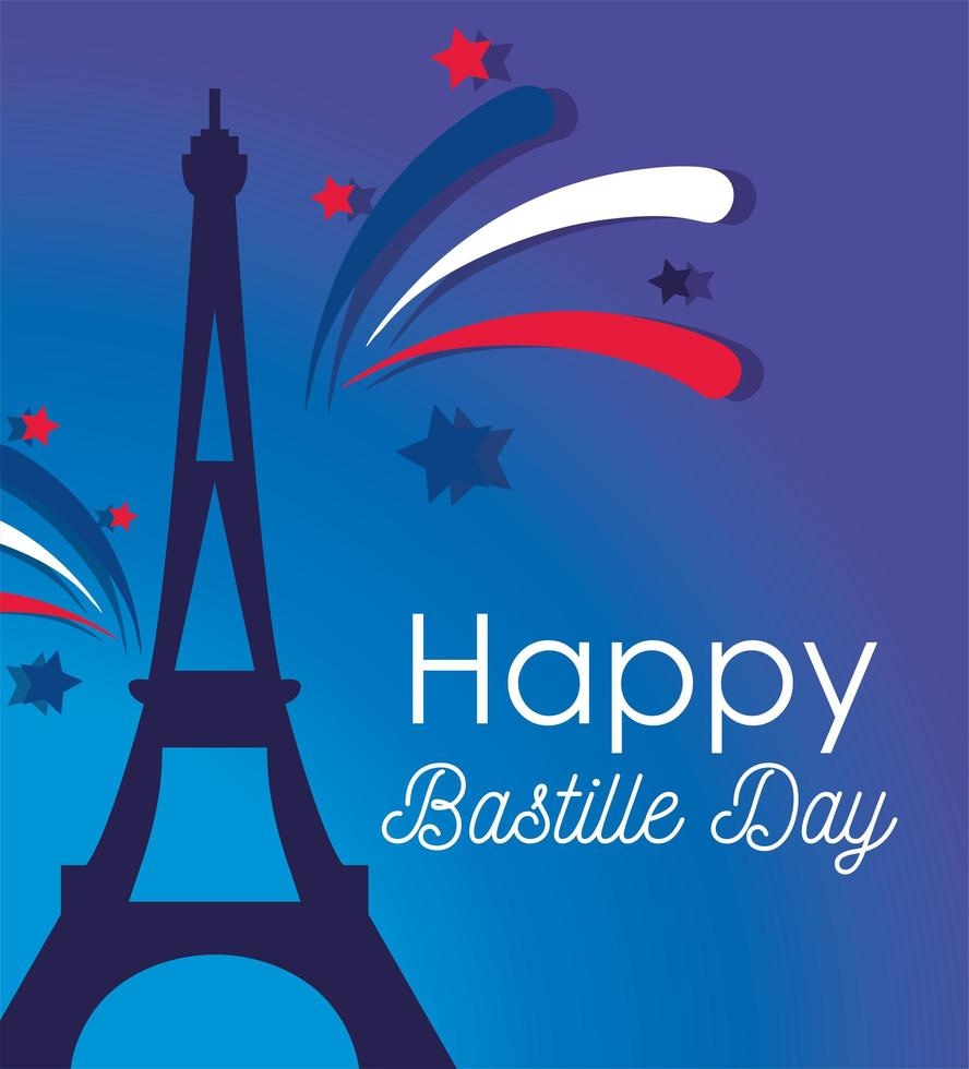 Eiffel tower with fireworks of happy Bastille day  vector