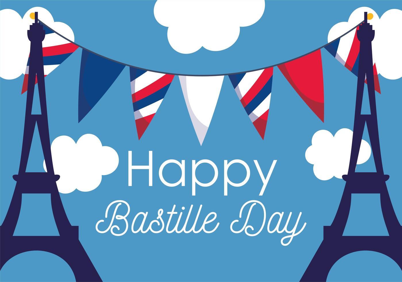 torres eiffel con banderines del feliz día de la bastilla vector