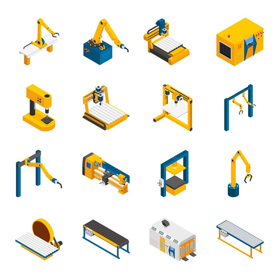 Isometric robotic machinery set  vector
