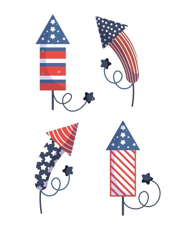 diseño vectorial de fuegos artificiales del día de la independencia vector