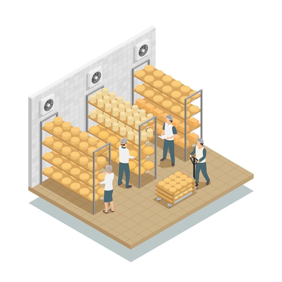 Composición isométrica de la fábrica de producción de queso. vector