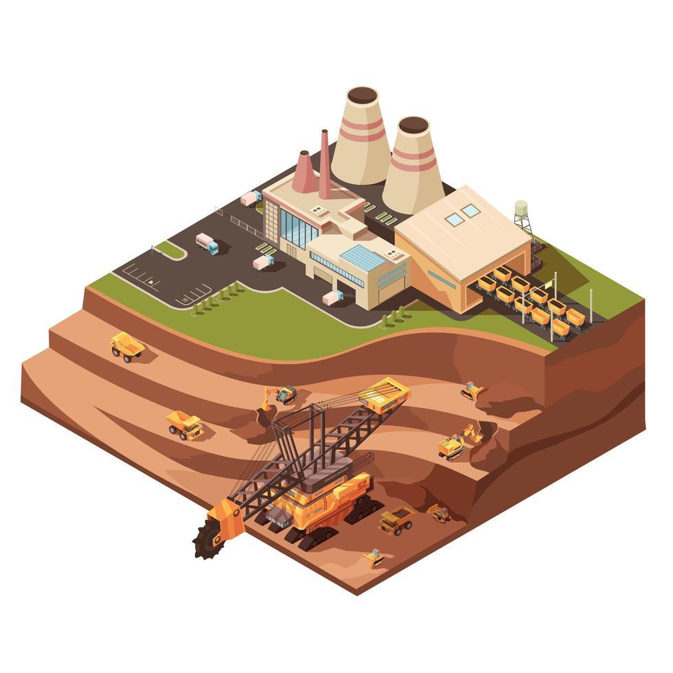 equipo de minería isométrica vector