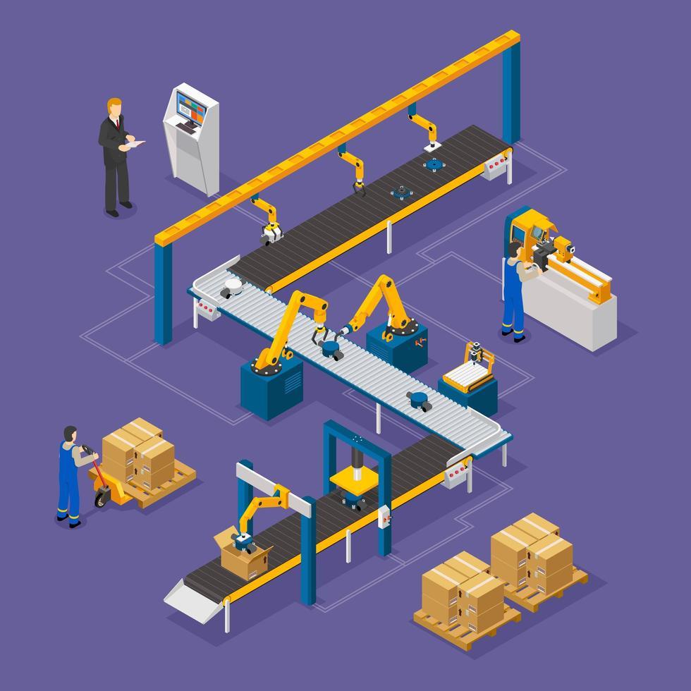 producción de maquinaria robótica isométrica vector