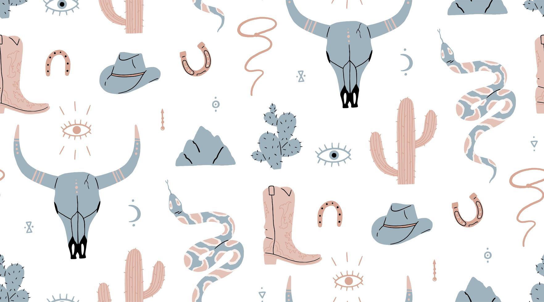 elementos del salvaje oeste dibujados a mano de patrones sin fisuras vector