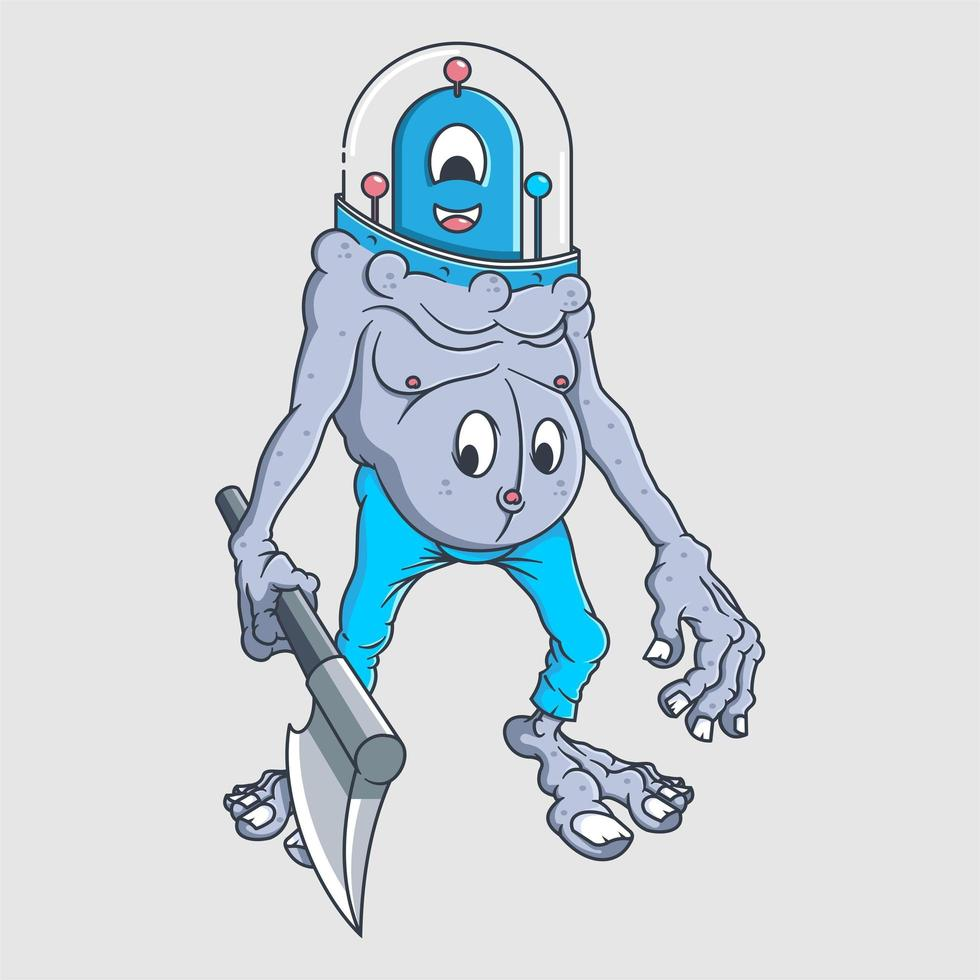 lindo diseño de personaje de dibujos animados alienígena vector