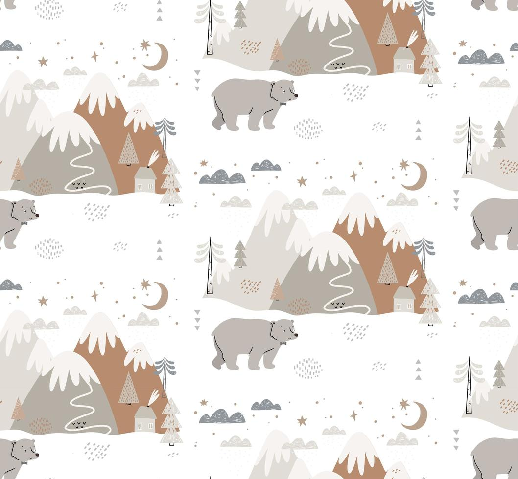 Hand drawn bear in winter Scandinavian style pattern vector