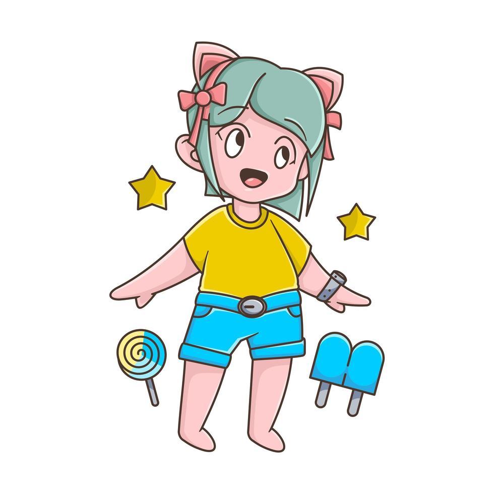 personaje de dibujos animados infantil con helado y estrellas vector