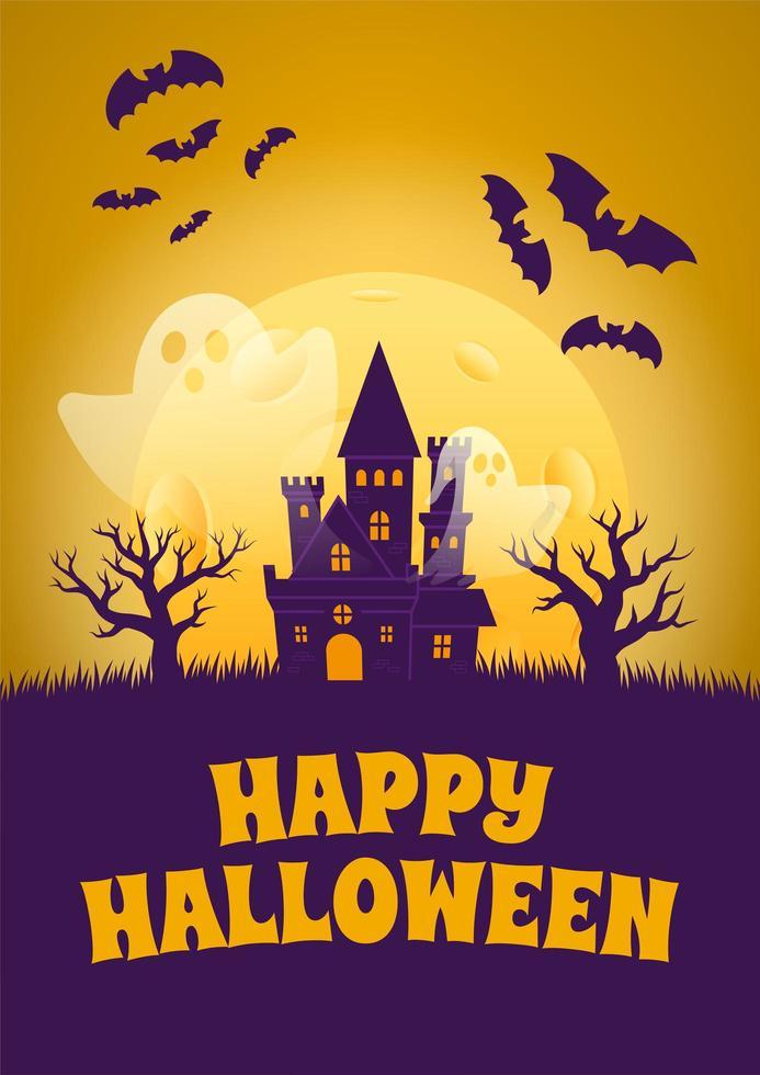 cartel de halloween con casa embrujada y fantasmas vector