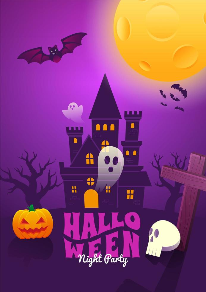 Halloween Poster with Haunted House Scene vector
