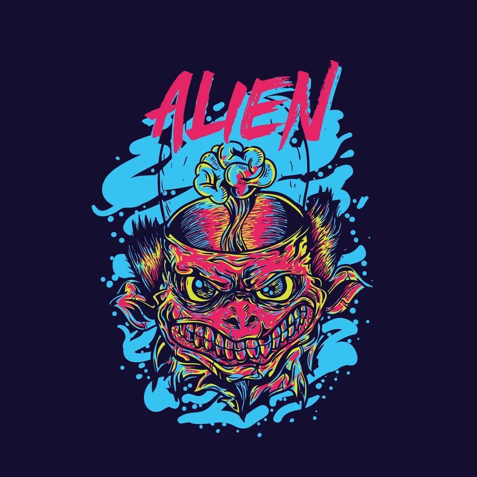 diseño de camiseta de cara alienígena vector