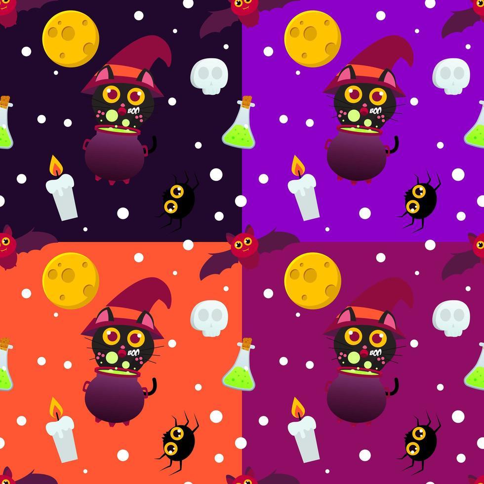 gato bruja con caldero de patrones sin fisuras de halloween vector